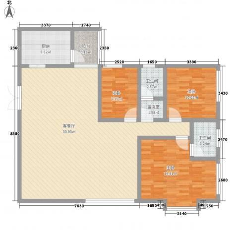 威华广场3室1厅2卫1厨153.00㎡户型图