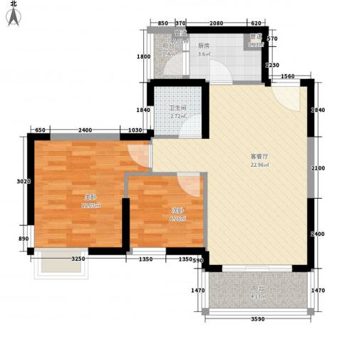 丰泰观山花园2室1厅1卫1厨77.00㎡户型图