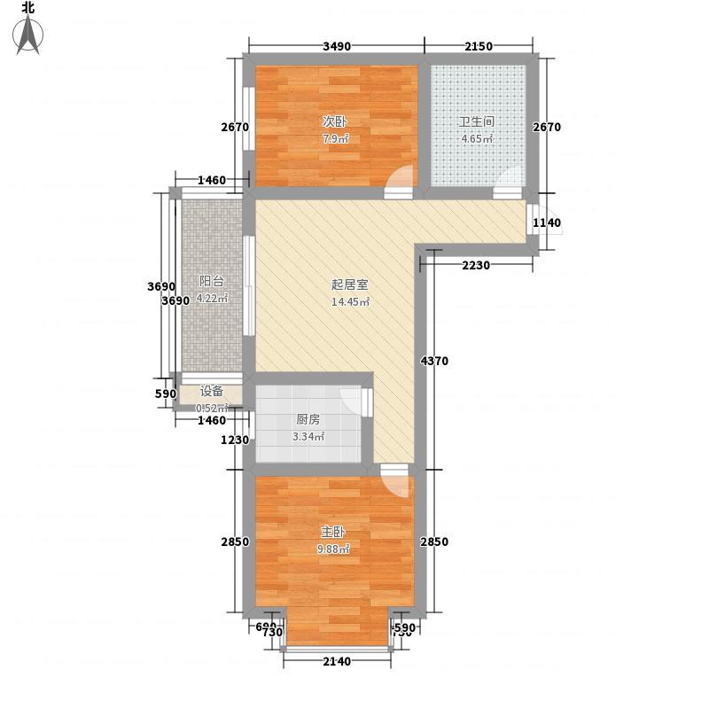 迎西城・龙湾佳园67.46㎡A户型2室1厅1卫1厨