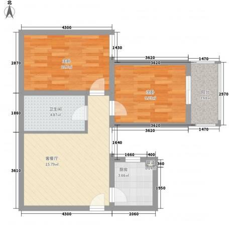 万华园上观苑2期2室1厅1卫1厨70.00㎡户型图