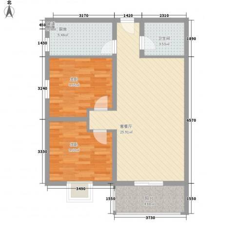 万华园上观苑2期2室1厅1卫1厨84.00㎡户型图