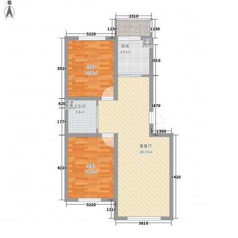澜山溪谷2室1厅1卫1厨83.00㎡户型图
