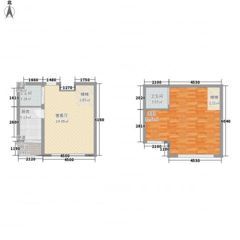 澜山溪谷1室1厅2卫1厨97.00㎡户型图