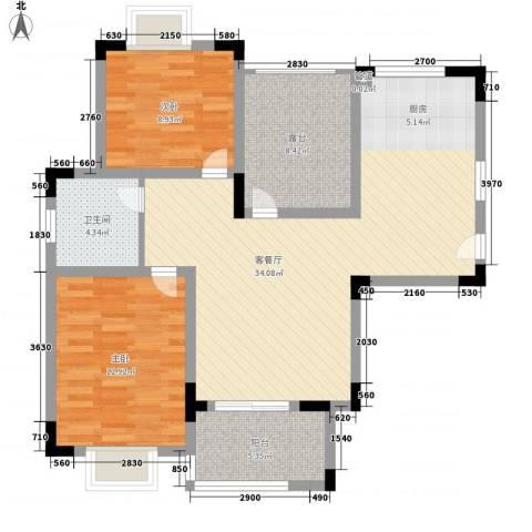 润泽东都二期宽域2室1厅1卫0厨106.00㎡户型图