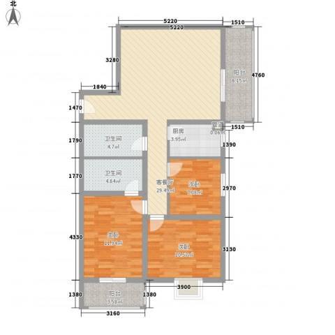 万华园上观苑2期3室1厅2卫1厨118.00㎡户型图