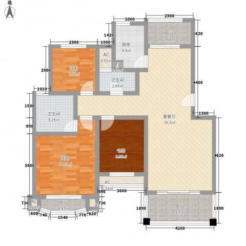 城开国际学园3室1厅2卫1厨110.00㎡户型图