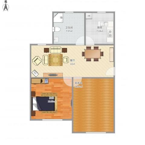 金龙花苑牡丹园1室1厅1卫1厨92.00㎡户型图