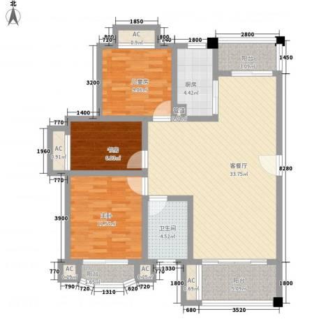 城开国际学园3室1厅1卫1厨97.00㎡户型图