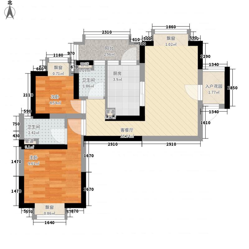 顺德碧桂园户型图喜居组团17座15层1502 2室2厅1卫1厨