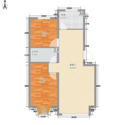 香槟美景1室1厅1卫1厨91.00㎡户型图