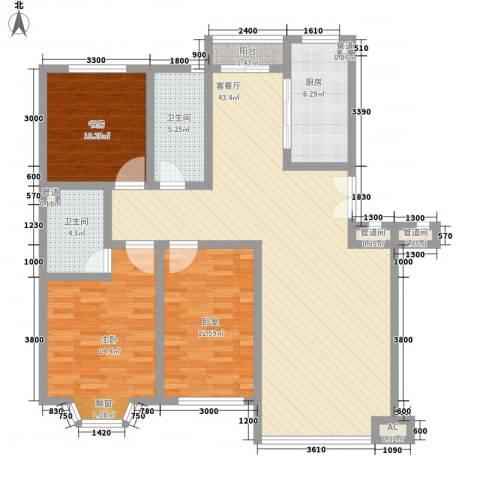 香槟美景2室1厅2卫1厨129.00㎡户型图