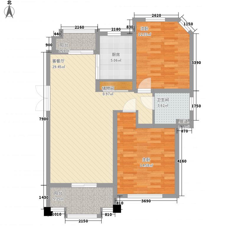 尚东国际名园106.28㎡B户型2室2厅1卫1厨