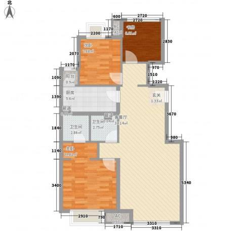 富力丹麦小镇3室1厅2卫1厨86.72㎡户型图