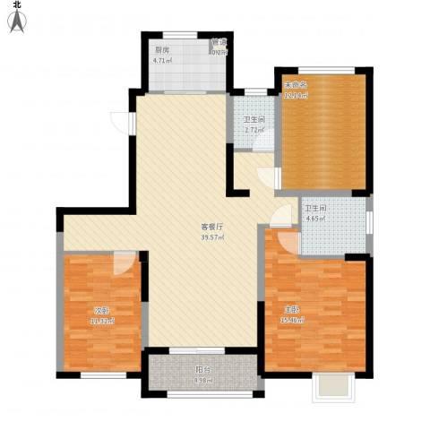 红豆人民路九号2室1厅2卫1厨136.00㎡户型图