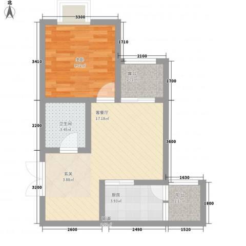 海�新天1室1厅1卫1厨59.00㎡户型图