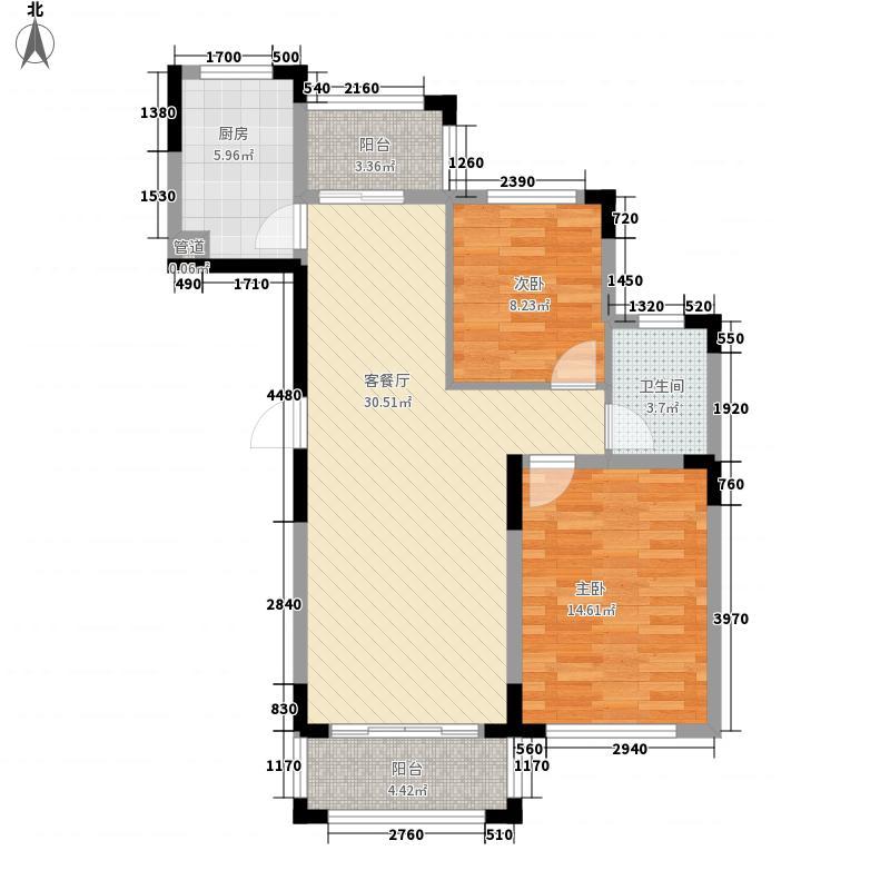 新纪元・香墅89.00㎡户型2室2厅1卫