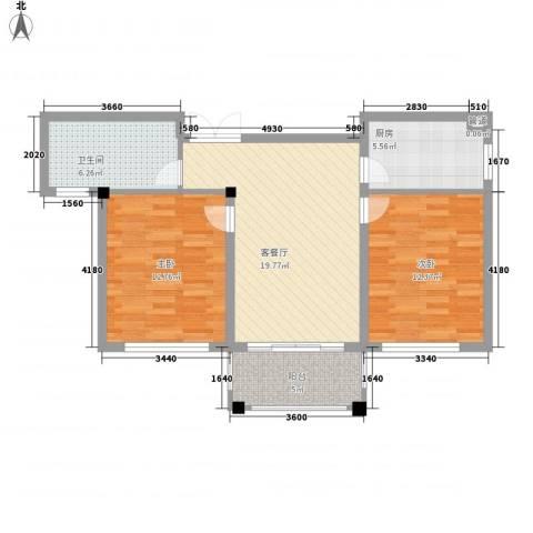 康恒悦麒美寓2室1厅1卫1厨88.00㎡户型图