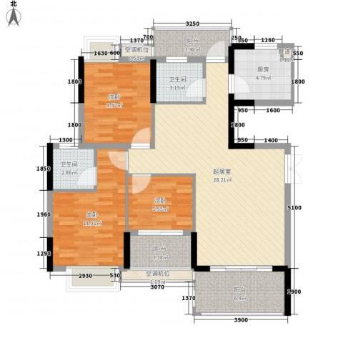 联泰香域滨江桥郡3室0厅2卫1厨80.74㎡户型图