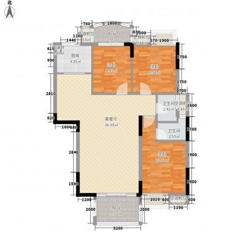 联泰香域滨江桥郡3室1厅2卫1厨88.19㎡户型图