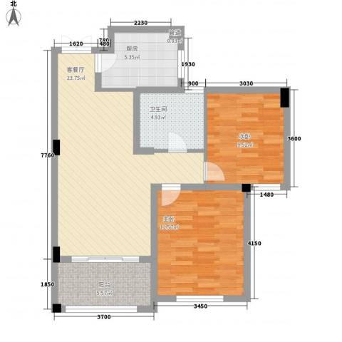 康恒悦麒美寓2室1厅1卫1厨89.00㎡户型图