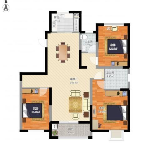 红豆人民路九号3室1厅2卫1厨136.00㎡户型图