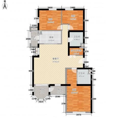 百旺家苑3室1厅2卫1厨150.00㎡户型图