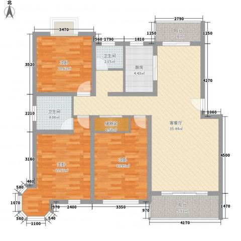 凤凰城3室1厅2卫1厨136.00㎡户型图