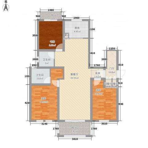 浅水湾恺悦名城3室1厅2卫1厨141.00㎡户型图