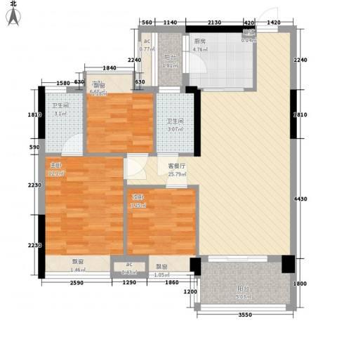 大自然广场3室1厅2卫1厨70.79㎡户型图