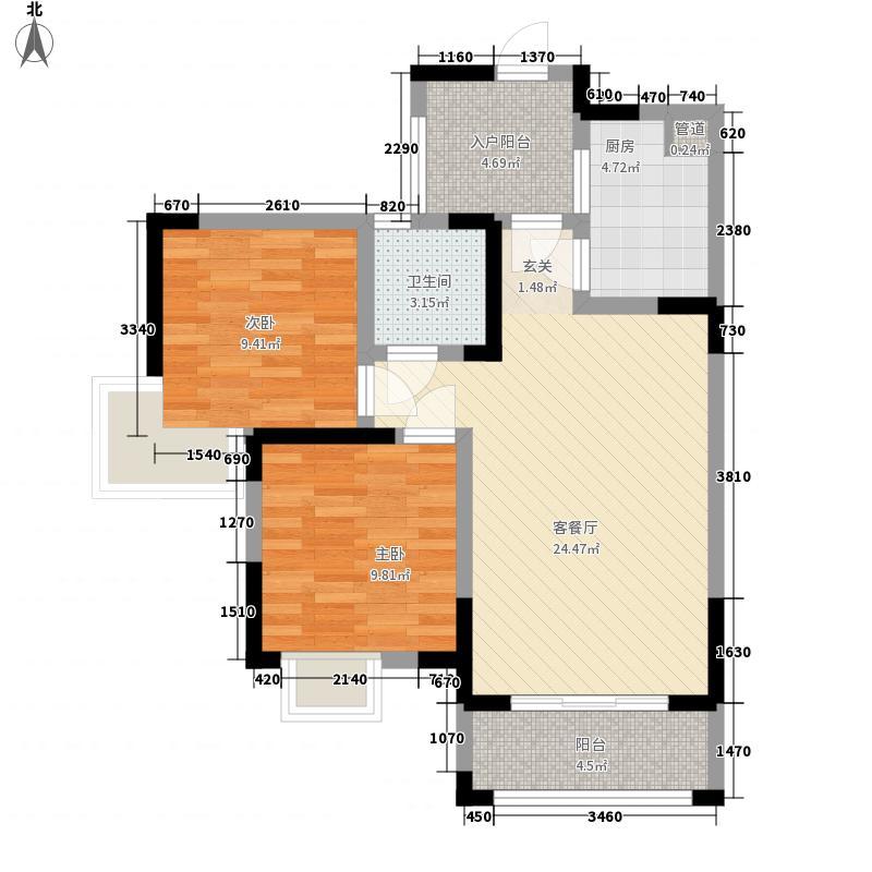 滨湖国际社区三期7.85㎡MA2型户型2室2厅1卫1厨