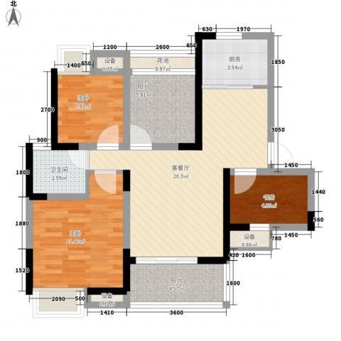 瑞泽源一里洋房3室1厅1卫1厨89.00㎡户型图