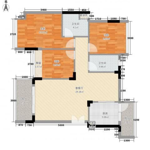 金地格林小城3室1厅2卫1厨93.00㎡户型图