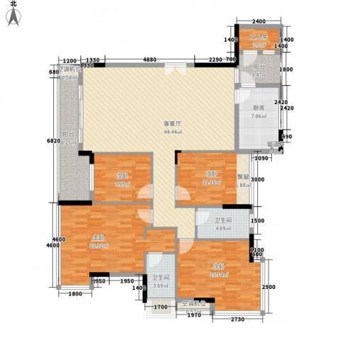 金地格林小城4室1厅2卫1厨143.00㎡户型图
