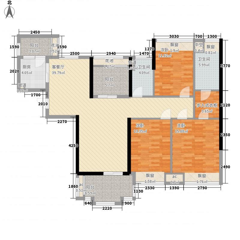 保利东湖林语13.00㎡36栋2梯04单位户型3室2厅2卫1厨