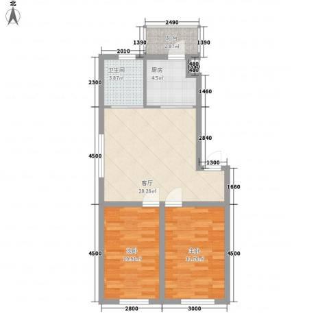 阳光御景2室1厅1卫1厨61.93㎡户型图