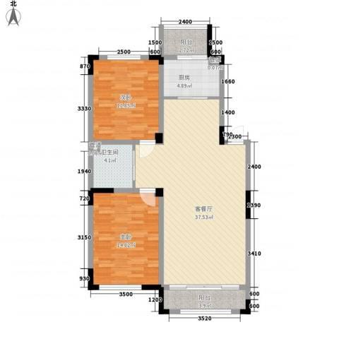 上东城市之光2室1厅1卫1厨115.00㎡户型图