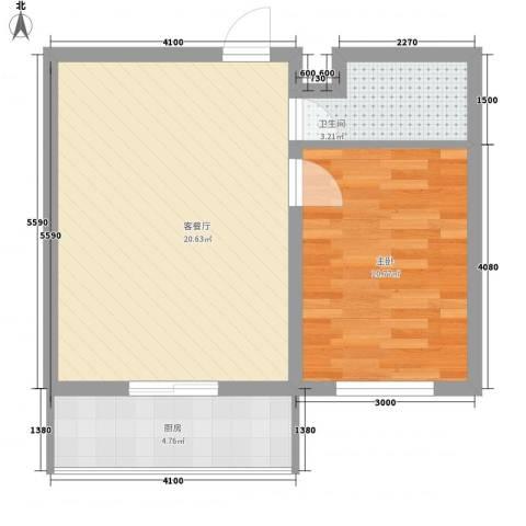 阳光御景1室1厅1卫1厨44.86㎡户型图