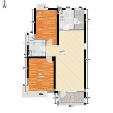 保利溪湖林语三期2室1厅1卫1厨93.00㎡户型图