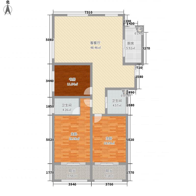 正大国际广场173.70㎡1/2#A户型3室2厅2卫1厨