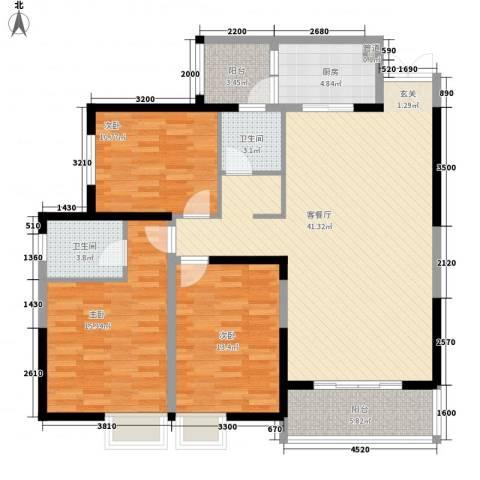 兰亭坊3室1厅2卫1厨144.00㎡户型图