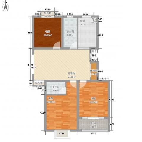 华夏名都3室1厅2卫1厨124.00㎡户型图