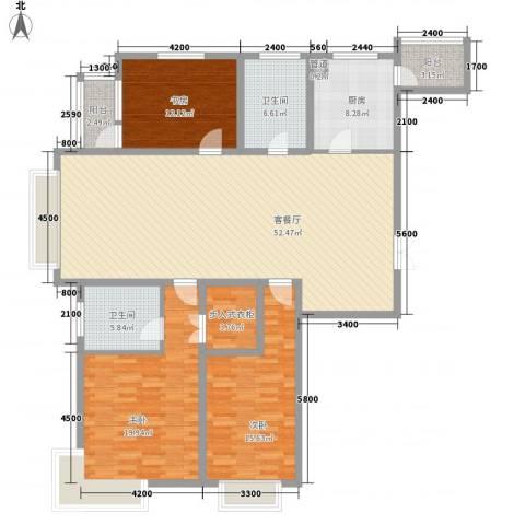 地王白金国际公寓3室1厅2卫1厨184.00㎡户型图