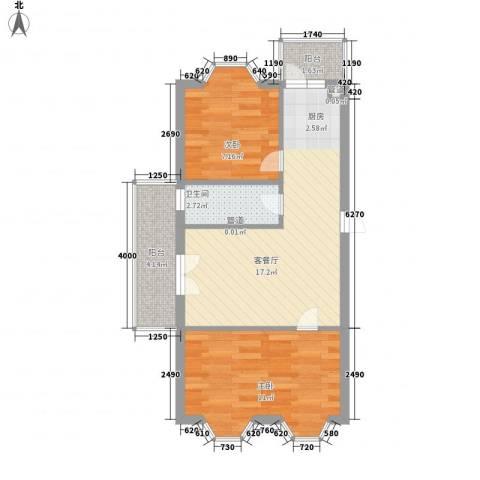 宏晟时代广场2室1厅1卫0厨62.00㎡户型图