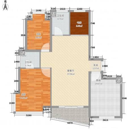 三北名都3室1厅2卫1厨139.00㎡户型图