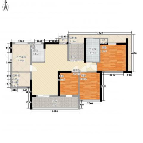 万科外国语学校宿舍2室1厅0卫1厨135.00㎡户型图