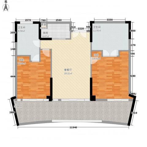 雅居乐海南清水湾2室1厅2卫1厨163.00㎡户型图