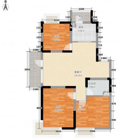保利溪湖林语三期3室1厅1卫1厨102.00㎡户型图