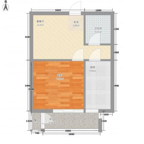 春江花月C区1室1厅1卫1厨42.00㎡户型图