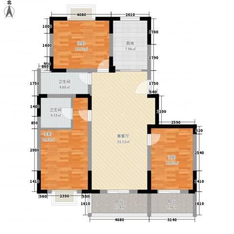 光大花苑3室1厅2卫1厨142.00㎡户型图