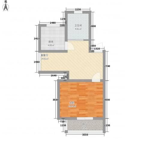 嘉骏香山苑1室1厅1卫1厨48.00㎡户型图